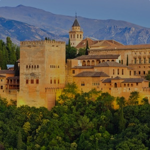 Alhambra palace at night, Granada, Andalucia