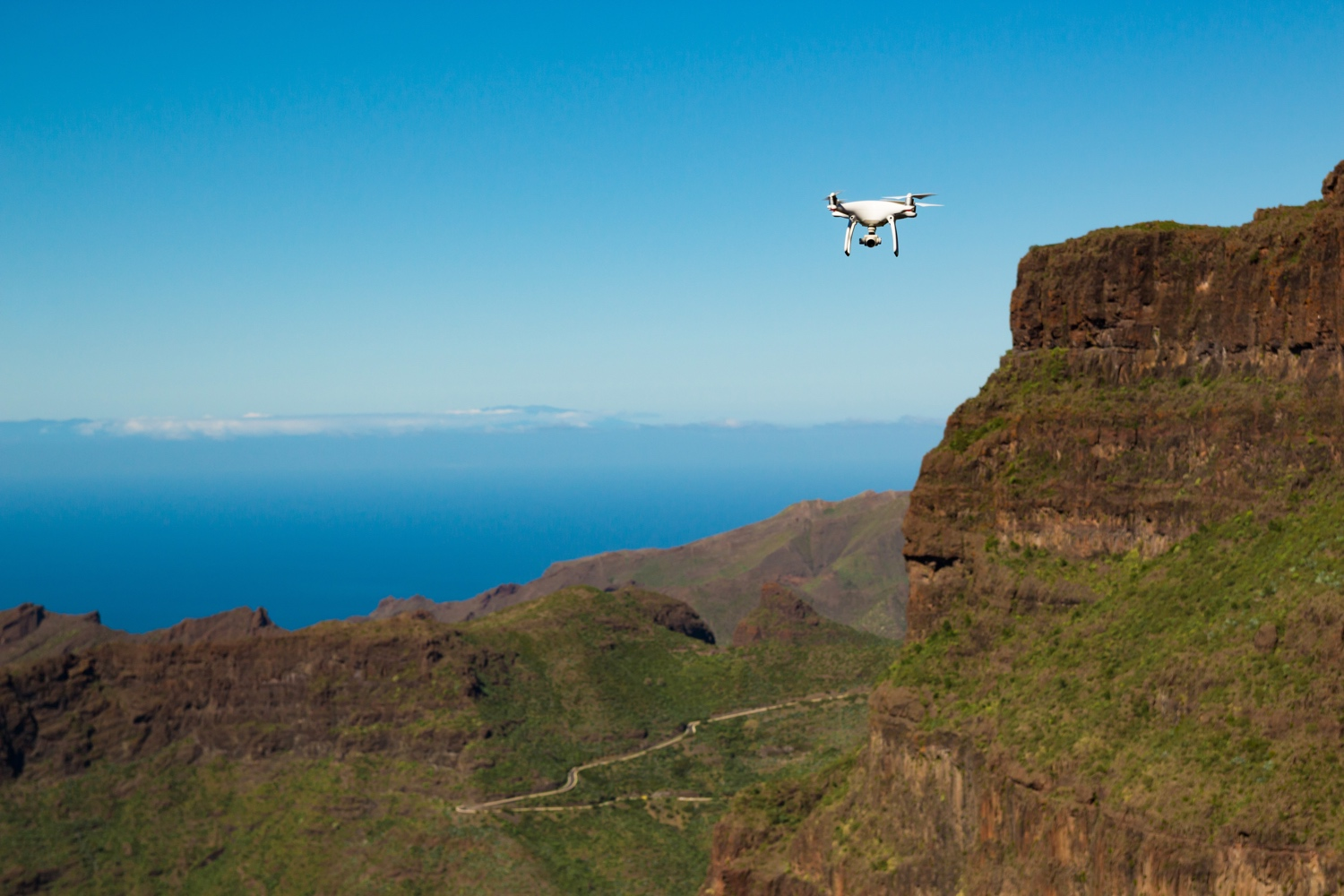 Drone holiday flying over Mountain on Tenerife, Canary Islands