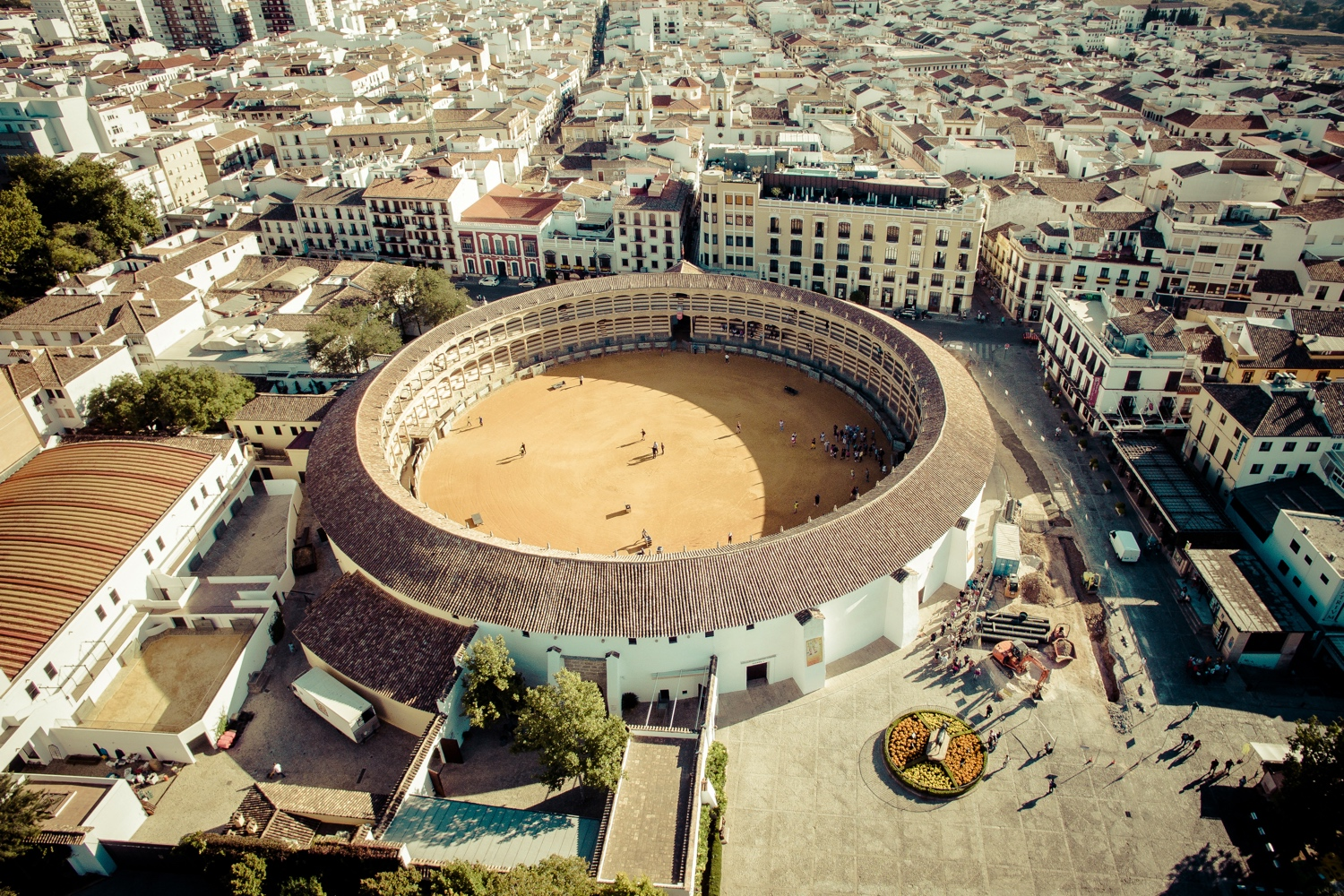 Experience Ronda, Spain. Ancient Spanish city, top view. Photo from drone. Arena for bullfighting. Bullfighting.